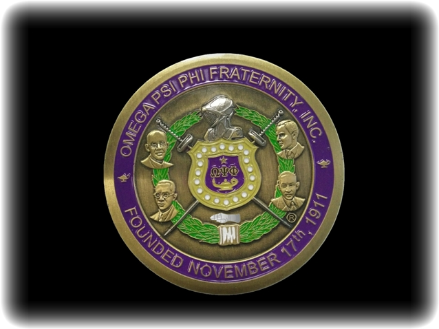 Omega Psi Phi Shield With Founders Colored Brass Medallion